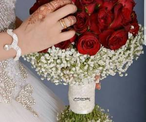 bride, red, and flowers image