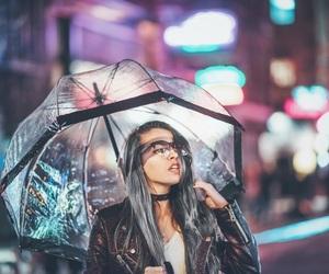 girl, lights, and umbrella image