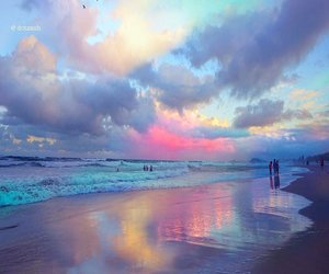 beach, sky, and clouds image