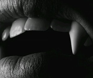 vampire, lips, and fangs image
