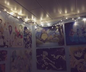 anime, christmas lights, and cute room image