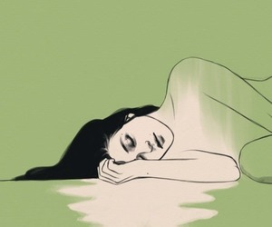 girl, drawing, and green image