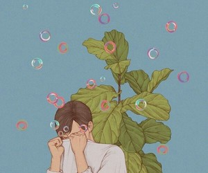 art, boy, and bubbles image
