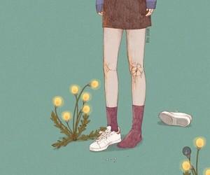 art, broken, and flowers image