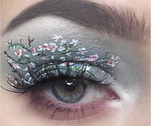 makeup, eyes, and flowers image