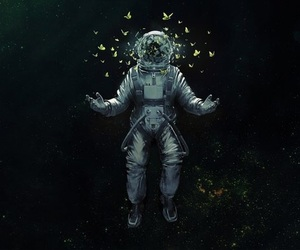 space, butterfly, and art image