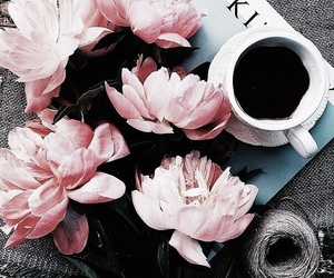 flowers, coffee, and pink image