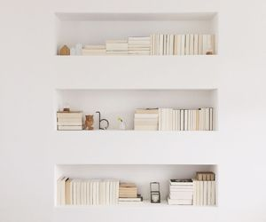 book, white, and bookshelf image