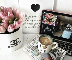 flowers, coffee, and chanel image