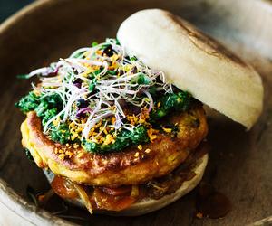 burger, potato, and spice image