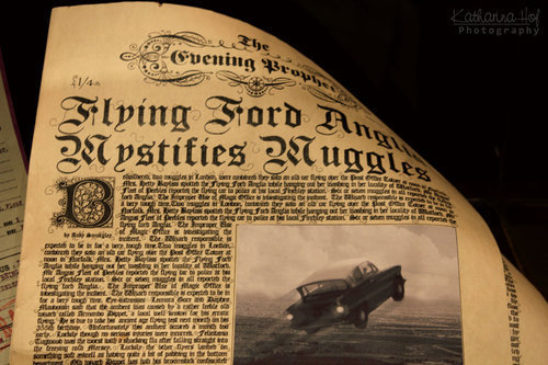 flying car, ford anglia, and harry potter image