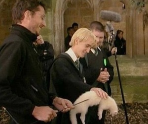 draco malfoy, harry potter, and behind the scenes image