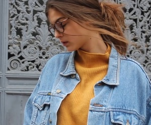 aesthetic, bun, and denim image