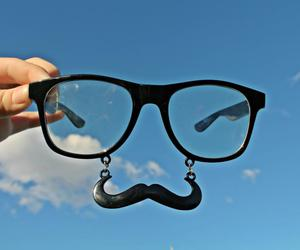 mustache and sky image