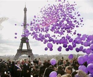 paris, purple, and balloons image