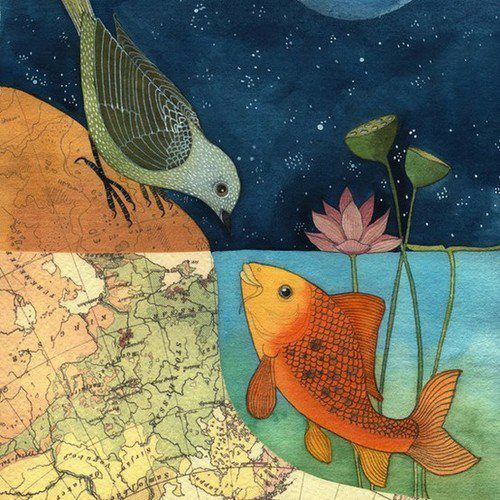bird, fish, and art image