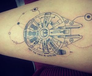 millenium falcon, tattoo, and star wras image