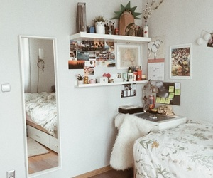 bed, bedroom, and desk image