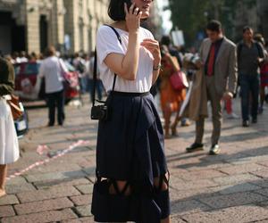 black, black heels, and fashion image