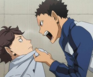 haikyuu, iwaoi, and oikawa image