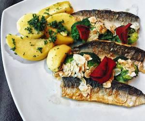 broccoli, fish, and potato image