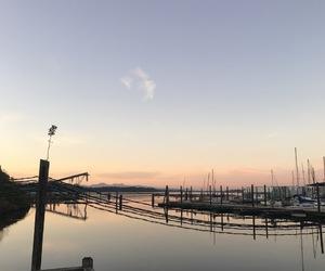 blue, dock, and orange image