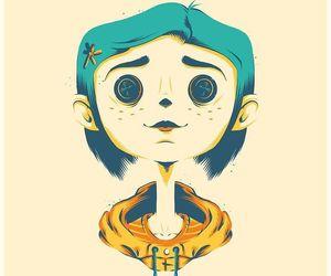 botones, blue hair, and creepy image
