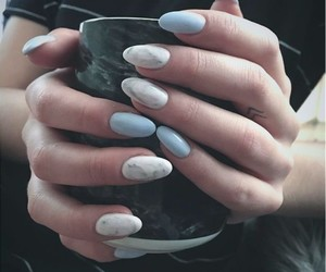 blue nails, marble, and oval nails image