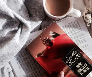 agatha christie, coffee, and hercule poirot image