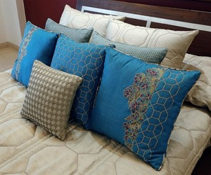 luxury bed linen, highend interiors, and luxury soft furnishings image