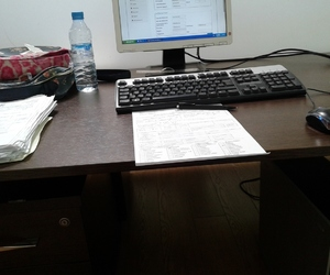 challenge, desk, and tired image