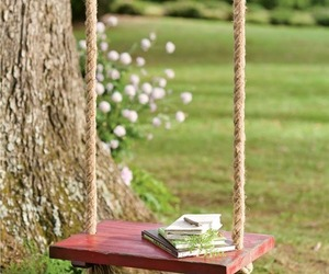 book, nature, and swing image