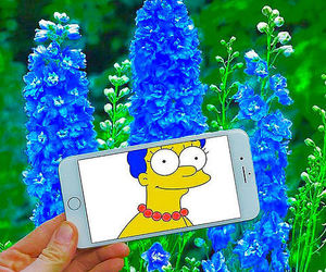 flowers, blue, and simpsons image
