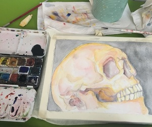 art, scull, and life image