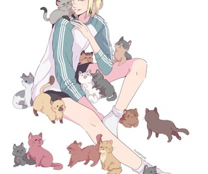 anime, yuri on ice, and cats image