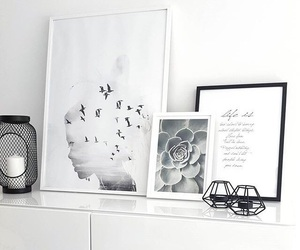 home, decoration, and black and white image