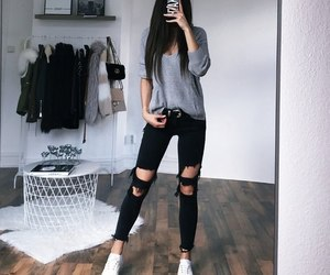 black, clothes, and ripped jeans image