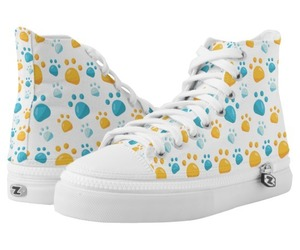 cat lovers, high top sneakers, and multicolor paw prints image