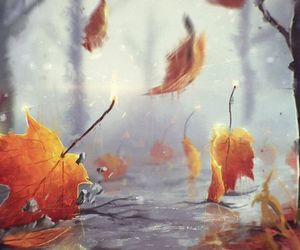 art, autumn, and leaves image