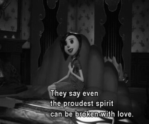 coraline, quotes, and black and white image