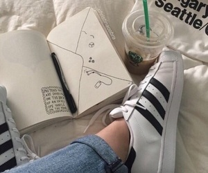 adidas, starbucks, and book image