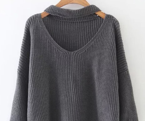 grey, outfit, and sweater image