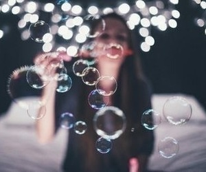 bubbles, girl, and photography image