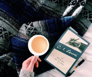 book, coffee, and blanket image