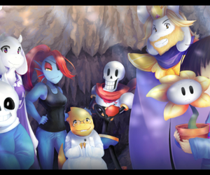 papyrus, frisk, and flowey image