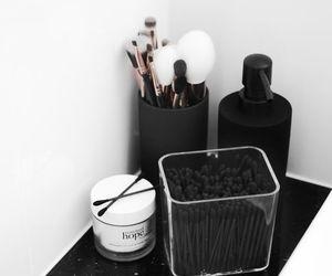 makeup, black, and cosmetics image