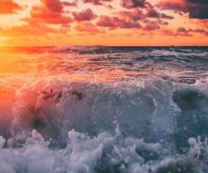 blue orange white, sunset beautiful sea, and photography photo cute image