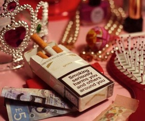 cigarette, girl, and pink image