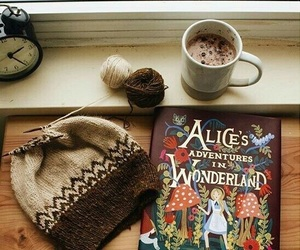 alice in wonderland, book, and hot ​chocolate image