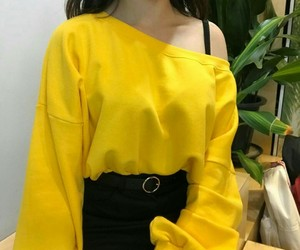 yellow, girl, and style image